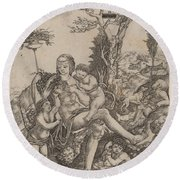 Allegory Of Mother Earth Round Beach Towel