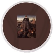 Allegory With A Virgin 1479 80 Hans Memling Round Beach Towel