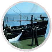 Allen Cody Of The Del Monte Fishing Co. And A Fin Whale 1967 Round Beach Towel