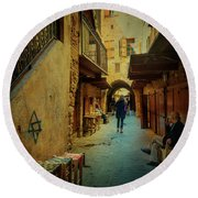 Alley Of Old Sidon Round Beach Towel