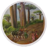 Alley Of The Baobabs Round Beach Towel