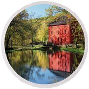 Alley Spring Mill Reflection Round Beach Towel