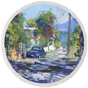 Alleyway By Lida's House Greece Round Beach Towel