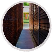 Alleyway To Green Round Beach Towel