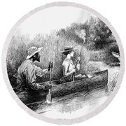 Alligator Hunt, 1888 Round Beach Towel