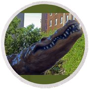 Alligator Statue 4 Round Beach Towel