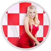 Alluring Long Haired Blonde Beauty In Retro Cafe Round Beach Towel