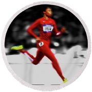 Allyson Felix Ahead Of The Pack Round Beach Towel