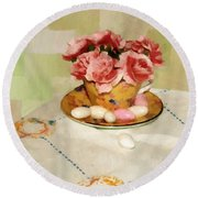 Almond Blossom Tea Round Beach Towel