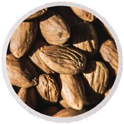Almond Nuts Round Beach Towel