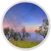 Almonds And Moon Round Beach Towel