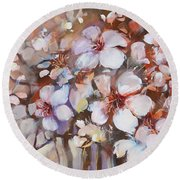 Almonds Blossom  2 Round Beach Towel