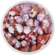 Almonds Blossom  8 Round Beach Towel