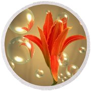 Almost A Blossom In Bubbles Round Beach Towel