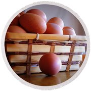 Almost All My Eggs In One Basket Round Beach Towel