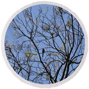 Almost Bare With Birds II Round Beach Towel