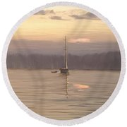 Almost Daytime On The Waters Round Beach Towel