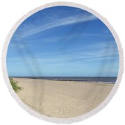Almost Deserted Beach At Skegness Round Beach Towel