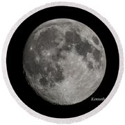Almost Full Moon Round Beach Towel