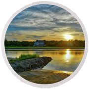 Almost Sunset In Pawleys Island Round Beach Towel