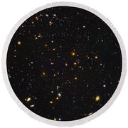 Almost Ten Thousand Galaxies As Seen By Hubble Round Beach Towel