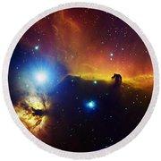 Alnitak Region In Orion Flame Nebula Round Beach Towel by Filipe Alves