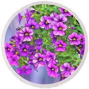 Aloha Purple Sky Calibrachoa Abstract I Round Beach Towel