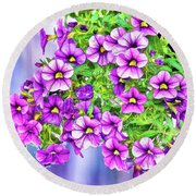 Aloha Purple Sky Calibrachoa Abstract II Round Beach Towel