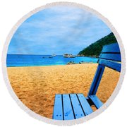 Alone And Blue Round Beach Towel