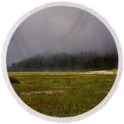 Alone In Fog Round Beach Towel