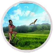 Alone In The Field Round Beach Towel