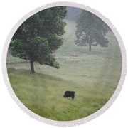 Alone In The Meadow Round Beach Towel
