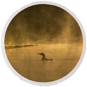 Alone In The Morning Fog Round Beach Towel