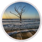 Alone In The Water Round Beach Towel