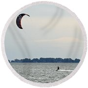 Alone On The Water Round Beach Towel