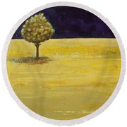 Alone In The Night Round Beach Towel