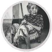 Balinese Old Woman Round Beach Towel