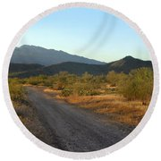 Along A Country Road Round Beach Towel