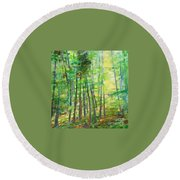 Along Buckslide Road Round Beach Towel