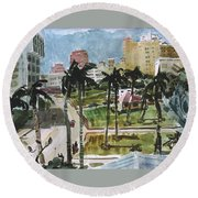 Along Flagler Drive Round Beach Towel