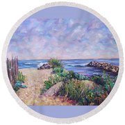 Along The Breachway Rhode Island Round Beach Towel