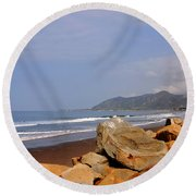 Along The Californian Coast Round Beach Towel