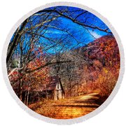 Along The Country Lane Round Beach Towel