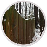 Along The Fence Round Beach Towel