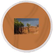 Along The Lake Round Beach Towel