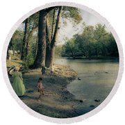 Along The Mississinewa River Round Beach Towel