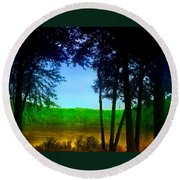 Along The Muddy River Round Beach Towel