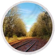 Along The Old Railroad  Round Beach Towel