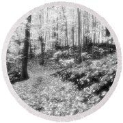 Along The Path Bw  Round Beach Towel