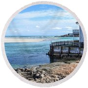 Along The Peaceful Shores  Round Beach Towel